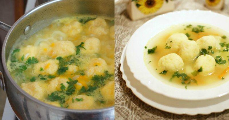 Суп з сирними кульками