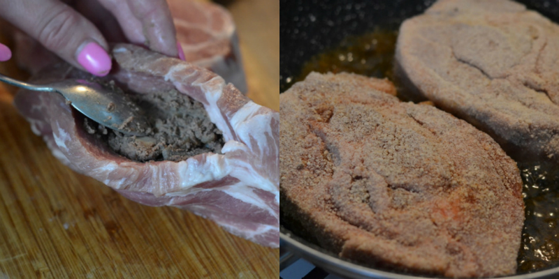 Свинина фарширована печінкою та грибами