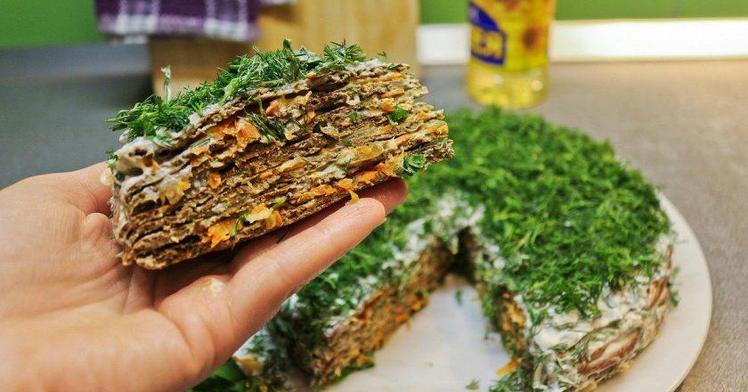 Печінковий торт з грибами подивитися рецепт