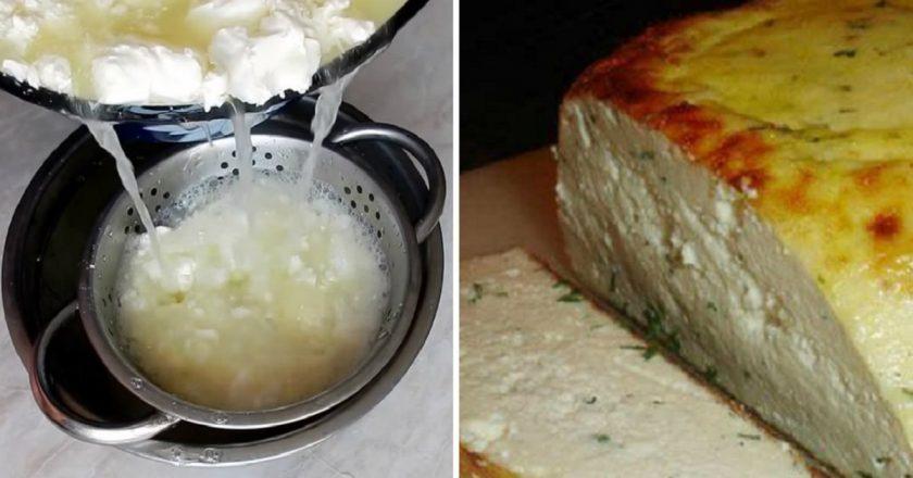 Домашній сир на кефірі подивитися рецепт