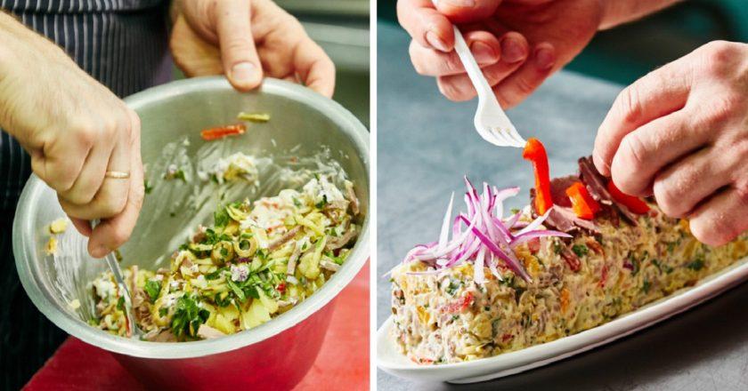 Салат з яловичиною і печеним перцем подивитися рецепт