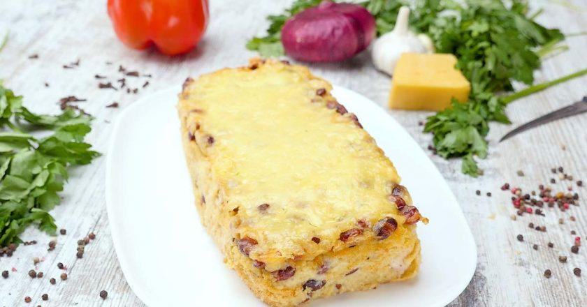 Картопляна запіканка з квасолею