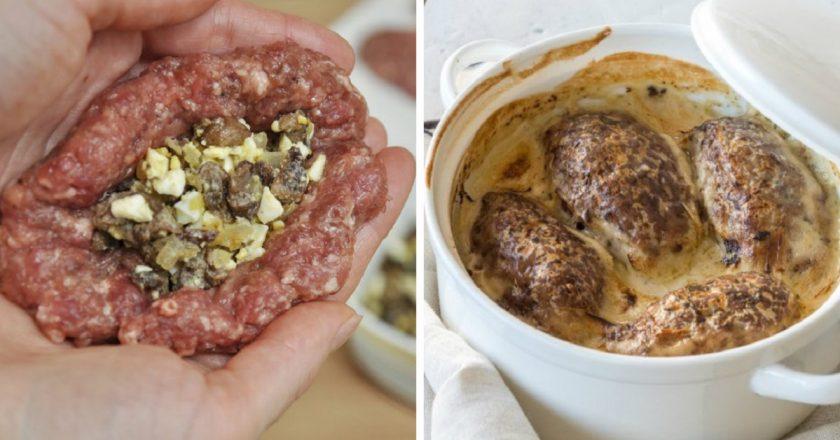 Зрази з м'яса з грибами подивитися рецепт