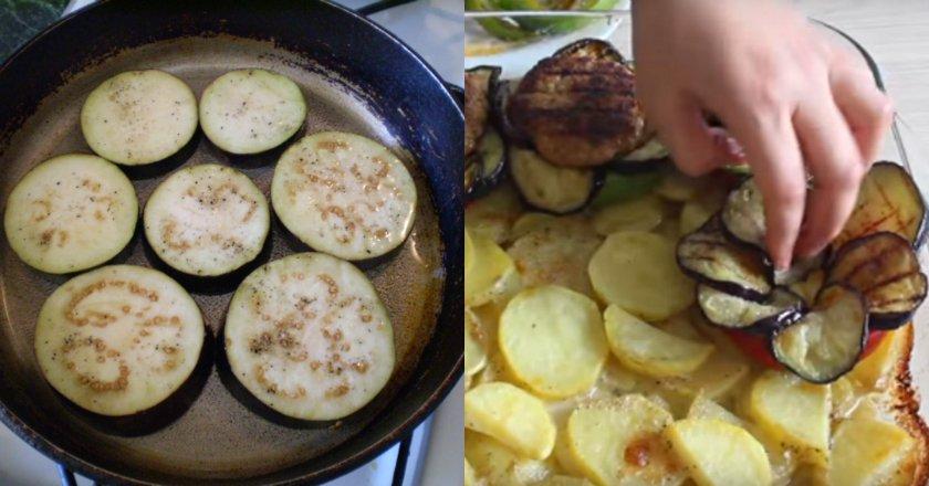 Баклажани з картоплею і фаршем подивитися рецепт