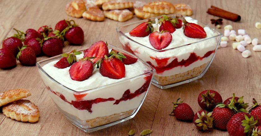 Десерт з полуницею та сиром подивитися рецепт