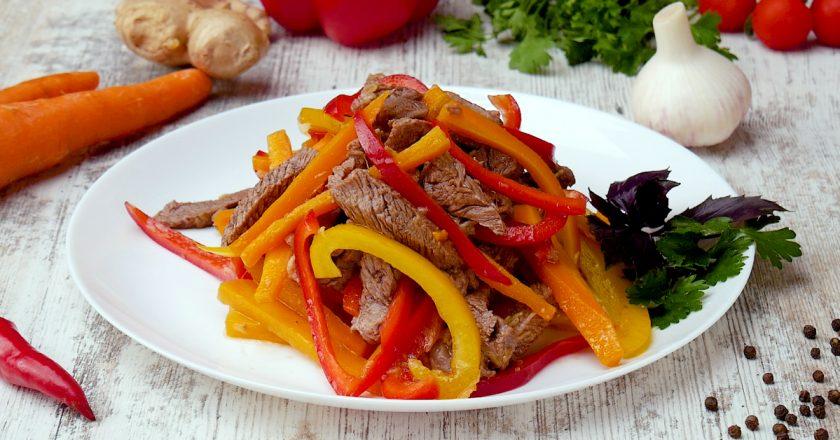 Салат з телятини з імбирною заправкою подивитися рецепт