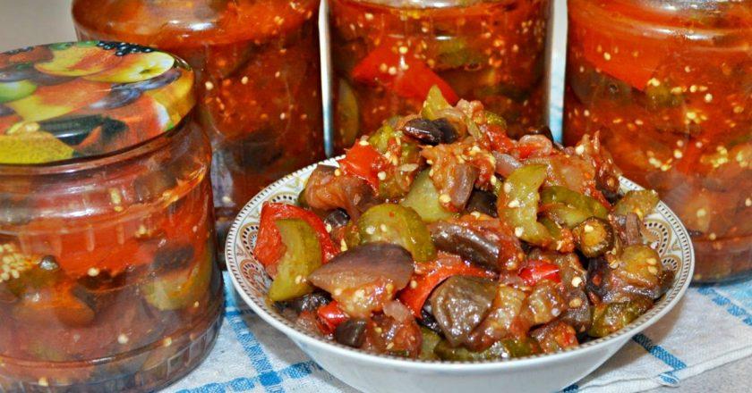 Салат з огірків і баклажанів на зиму подивитися рецепт