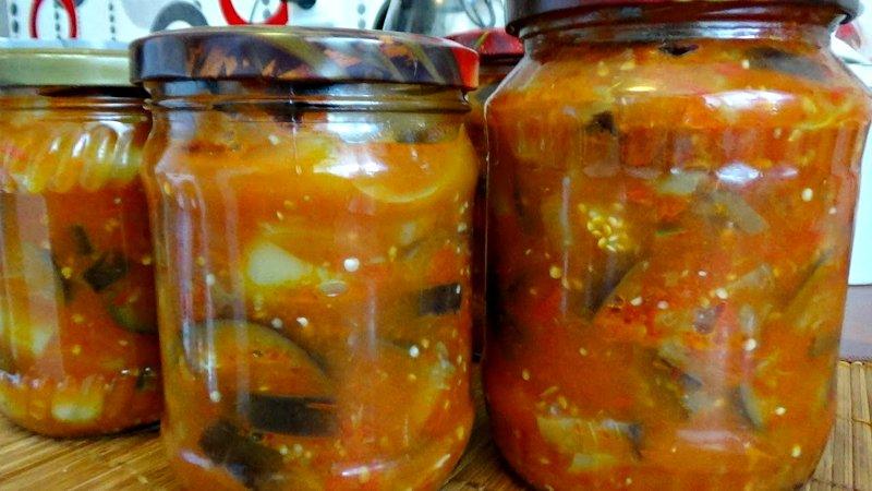 Салат з огірків і баклажанів на зиму