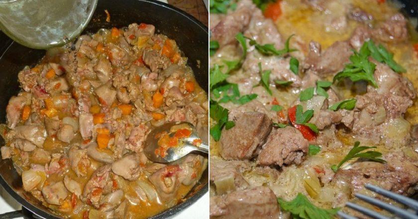 Печінка з овочами подивитися рецепт
