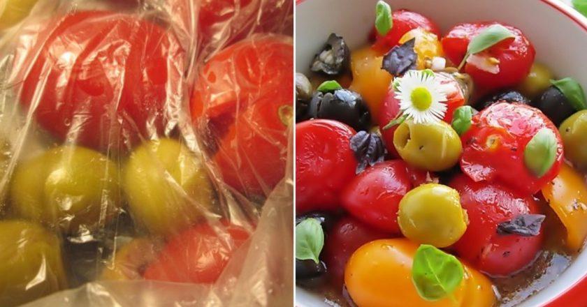 Салат з помідорами чері «Розчавлений» подивитися рецепт