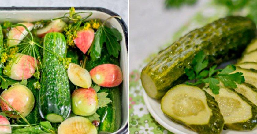 Малосольні огірки з яблуками подивитися рецепт
