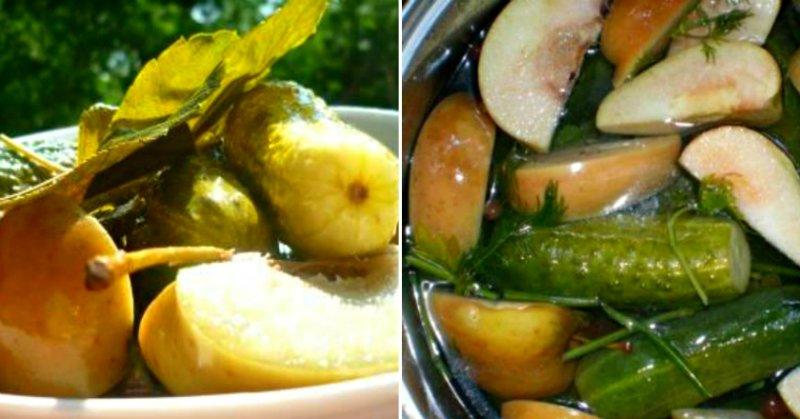 Малосольні огірки з яблуками