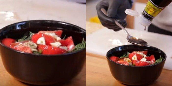 Маринована скумбрія з томатами