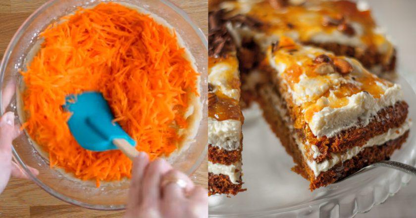 Морквяний пиріг з ванільним кремом подивитися рецепт