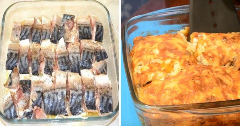 Картопляна запіканка зі скумбрією подивитися рецепт