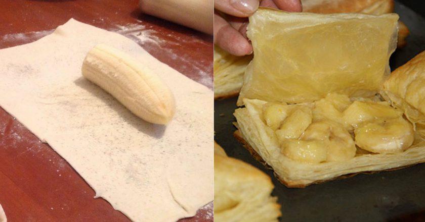 Слойки з бананом подивитися рецепт