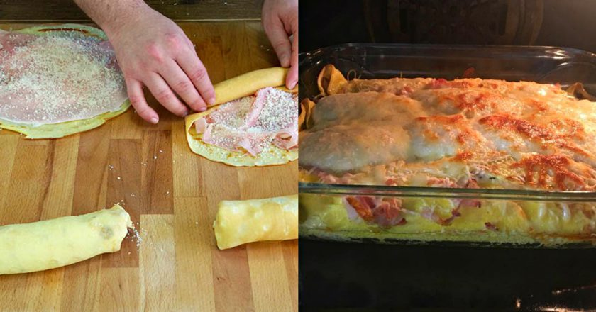 Млинна запіканка з шинкою і сиром як приготувати, покрокові рецепти від «Це Смак»