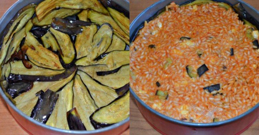 Запіканка з рису з баклажанами подивитися рецепт