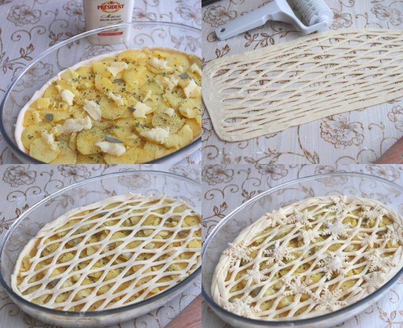 Пиріг з картоплею з дріжджового тіста