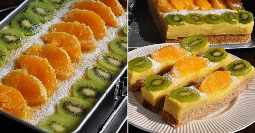 Пісне тістечко з фруктами подивитися рецепт
