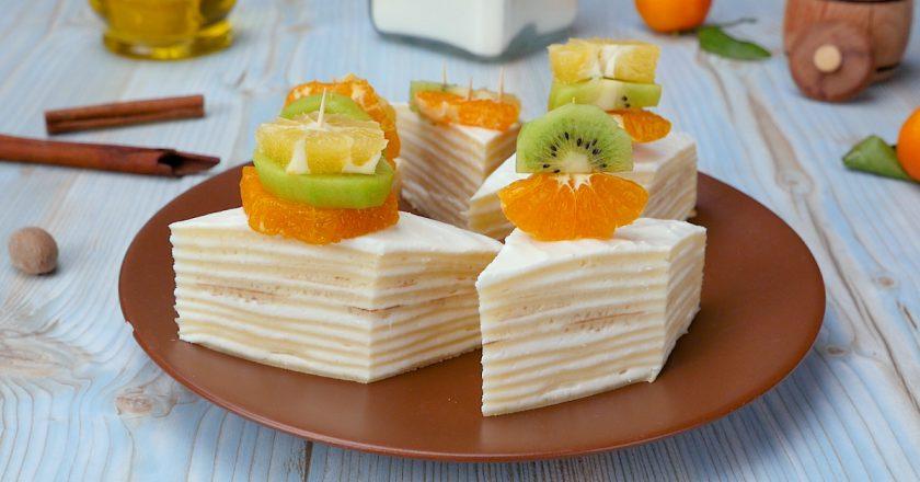 Як приготувати млинцевий торт з сиром подивитися рецепт