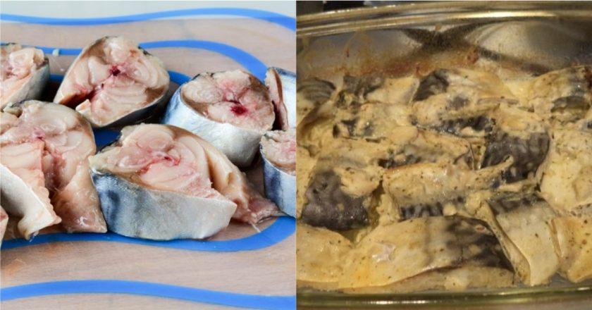 Маринована скумбрія в духовці подивитися рецепт
