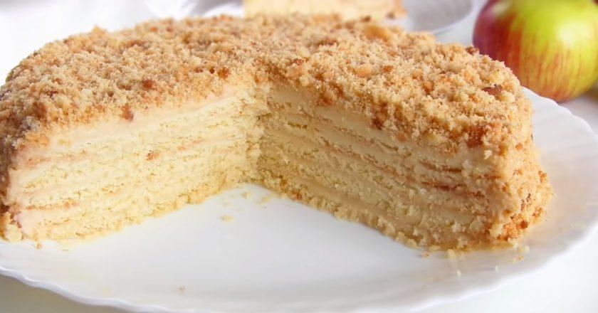 Торт з яблуками подивитися рецепт