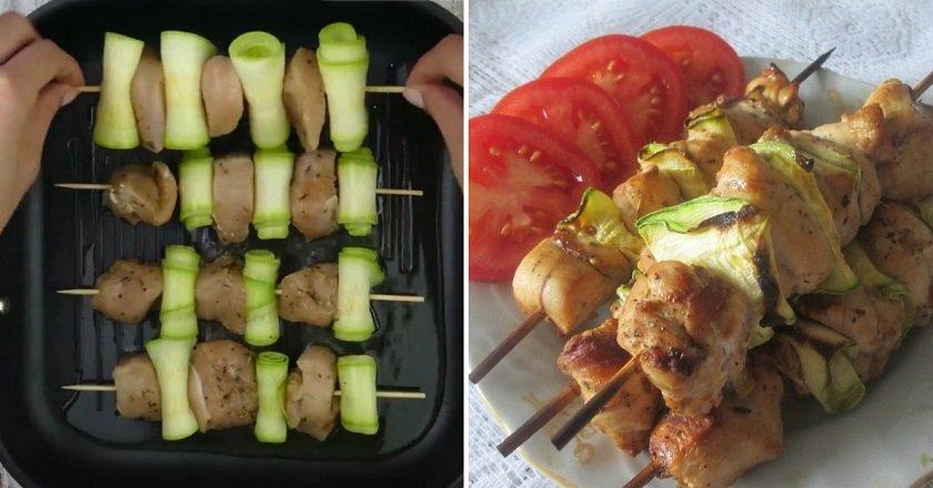 Курячі шашлички з кабачками як приготувати, покрокові рецепти від «Це Смак»