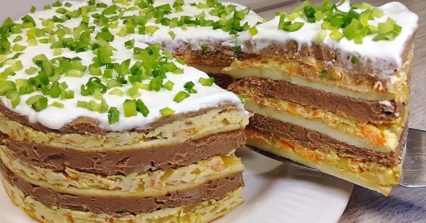 Закусочний торт «Святковий» подивитися рецепт