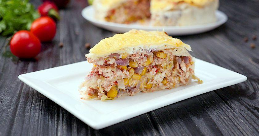 Як приготувати пиріг з лаваша з куркою подивитися рецепт