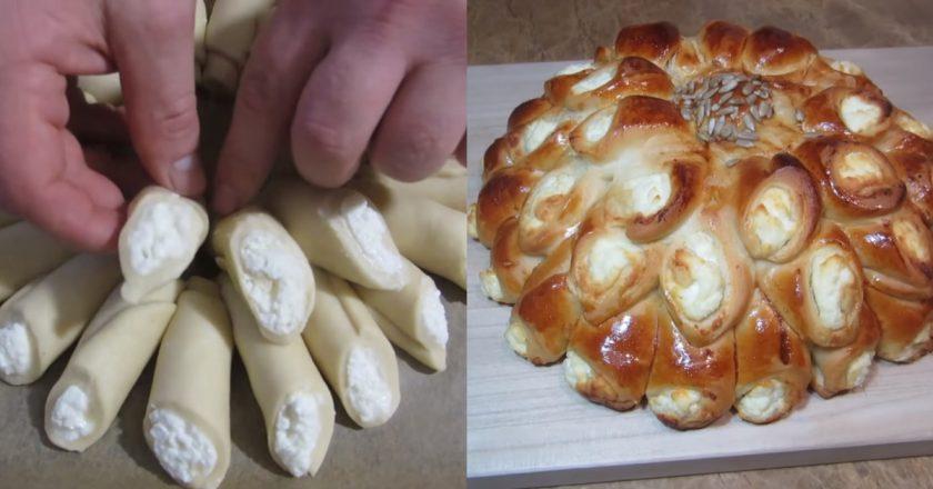 Дріжджовий пиріг з сиром подивитися рецепт