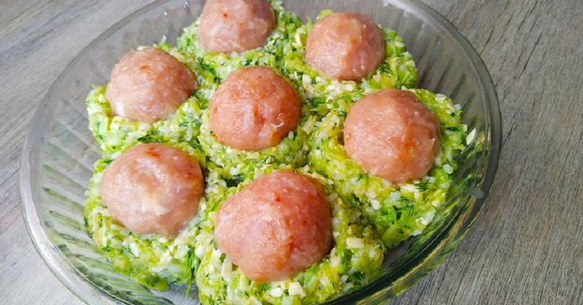 Гнізда з кабачків з фаршем подивитися рецепт