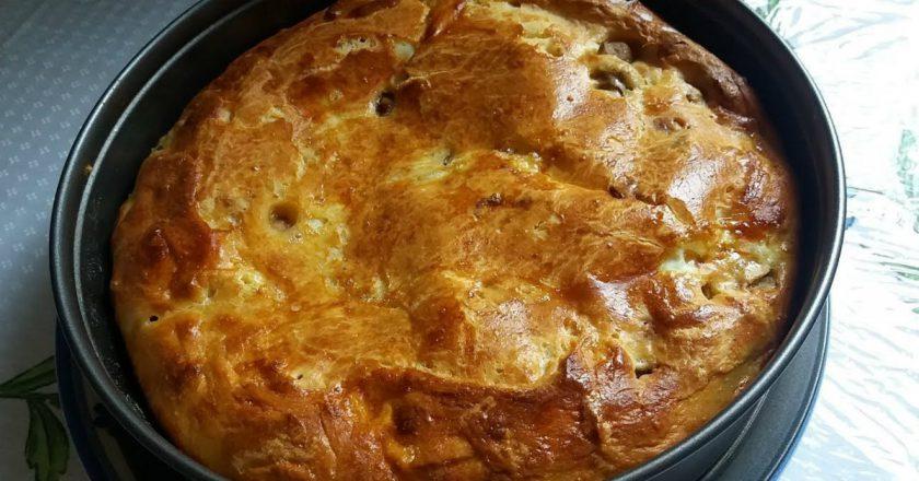 Пиріг з грибами на кефірі подивитися рецепт