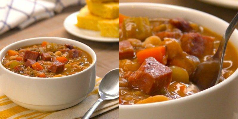 Суп квасолевий з шинкою