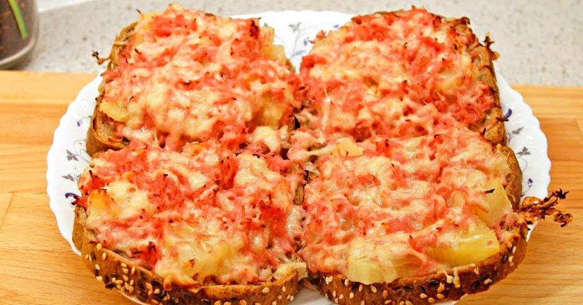 Гарячі бутерброди з ананасами подивитися рецепт