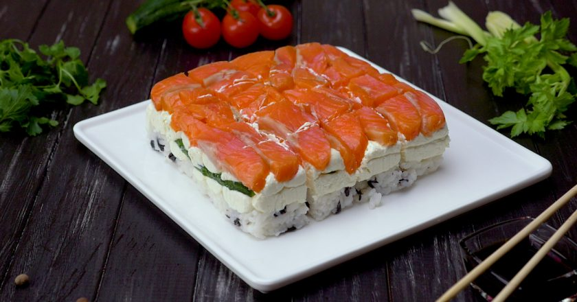 Суші-торт подивитися рецепт