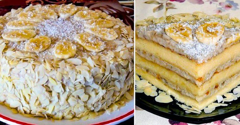 Банановий бісквітний торт подивитися рецепт