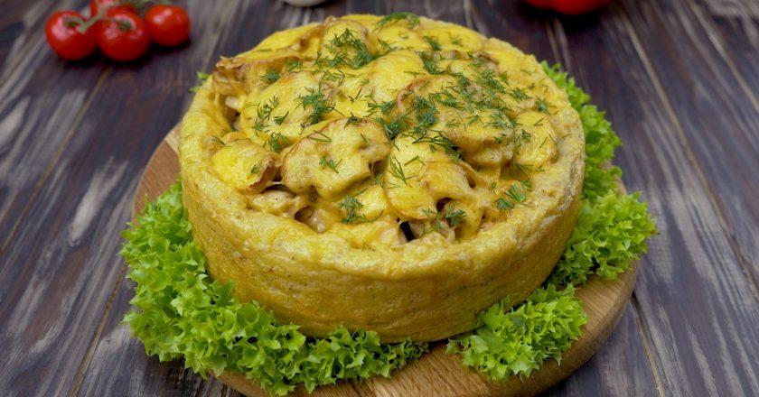 Картопляний пиріг з куркою і грибами подивитися рецепт