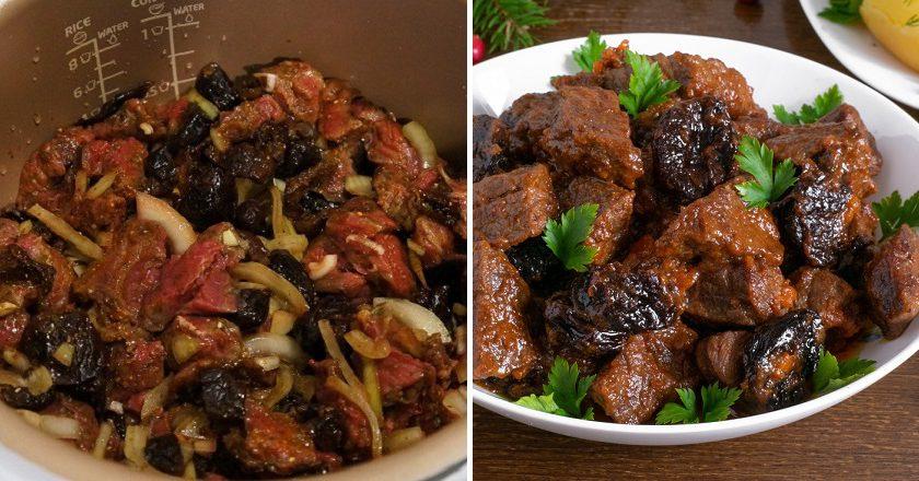 М'ясо з чорносливом в мультиварці подивитися рецепт