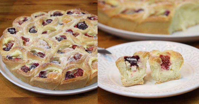 Сирний пиріг з ягодами подивитися рецепт