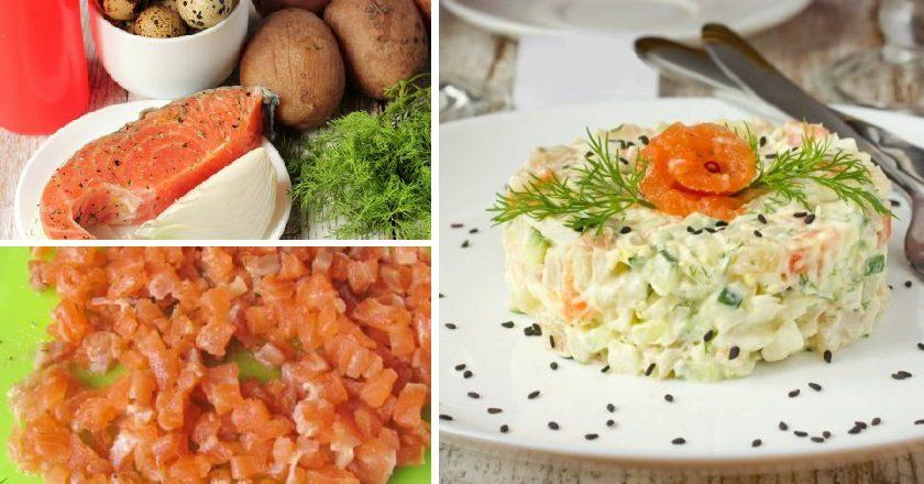 Салат з сьомгою та перепелиними яйцями подивитися рецепт