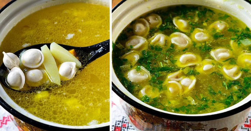 Суп з пельменями подивитися рецепт
