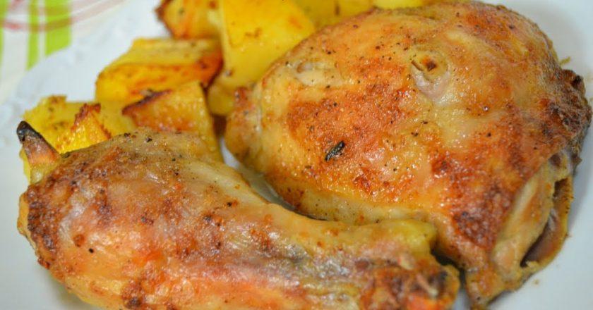 Курячі стегенця з яблуками подивитися рецепт