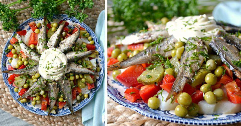 Салат зі шпротами і горошком подивитися рецепт