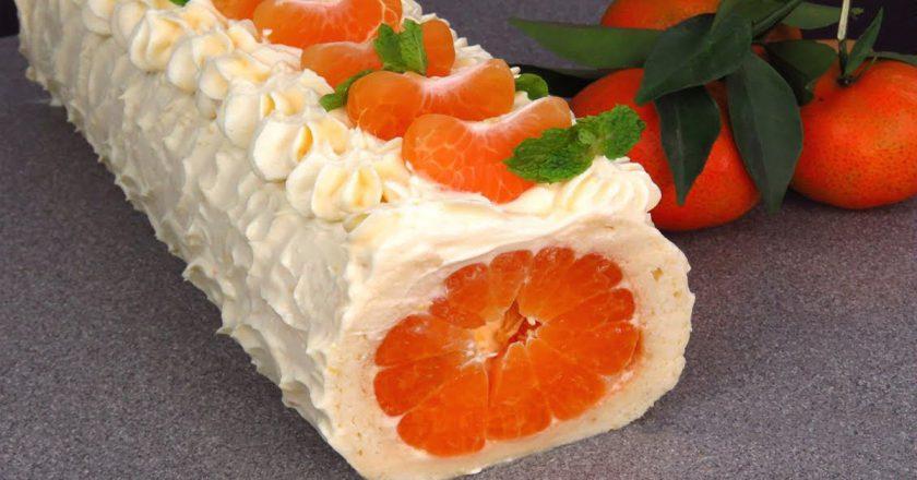 Новорічний рулет з мандаринами подивитися рецепт