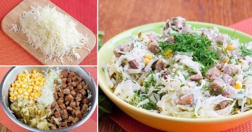 Салат з капустою і сухариками подивитися рецепт