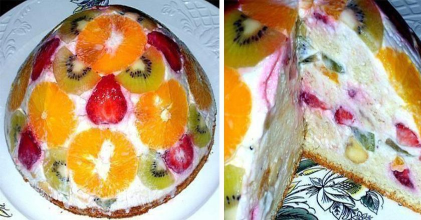 Бісквітно-фруктовий торт - Це Смак