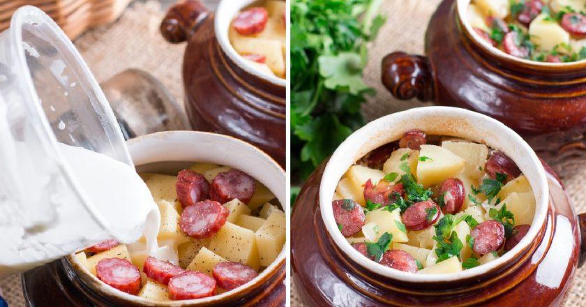 Картопля з ковбасками в горщиках подивитися рецепт