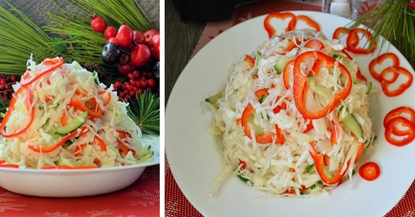 Зимовий свіжий салат подивитися рецепт