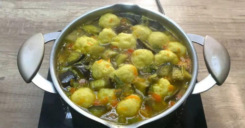 Овочевий суп з сирними кульками подивитися рецепт